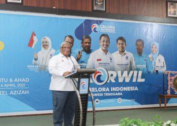 Ketgam: Gubernur Sultra, Ali Mazi, saat membuka acara Rakorwil Partai Gelora Indonesia Sultra di Kendari, Sabtu (3 Maret 2021). (Foto: La Ode Kaharmin/Diskominfo)